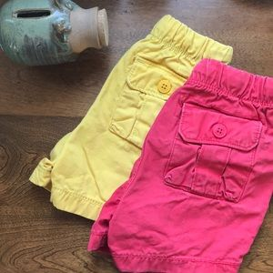 Baby Gap pull-on denim shorts in red & yellow